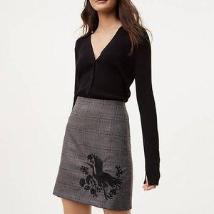 LOFT Grey Size 6 Miniskirt with embroidered bird